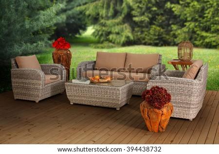 Rattan Garden Furniture - stock photo