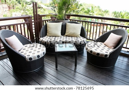 Rattan sofa. - stock photo