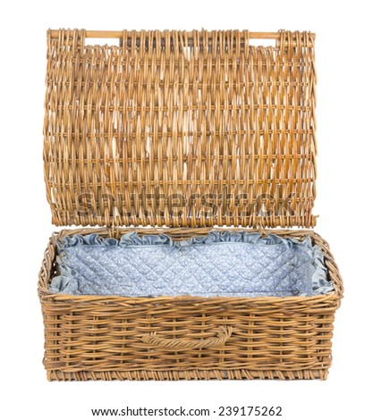 Rattan Suitcase Bag Open in White background