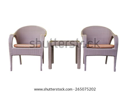 Rattans tables and chairs set isolated on white background - stock photo