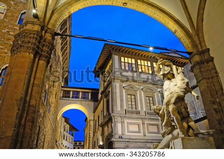 Ratto di Polissena statue in Florence by night, italy - stock photo