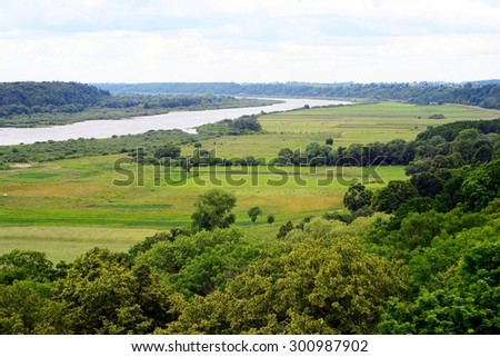 RAUDONE, LITHUANIA - JUNE 27: View to the Nemunas river from Raudone old red bricks castle tower on June 27, 2015, Raudone, Lithuania.