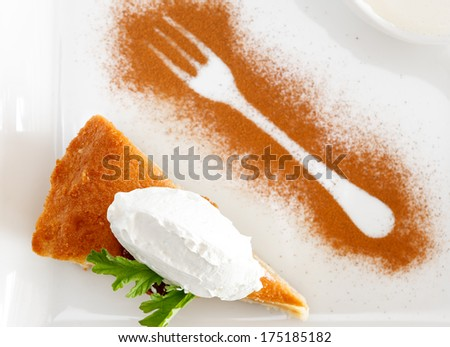 Ravani cake in herb syrup with vanilla ice cream - stock photo