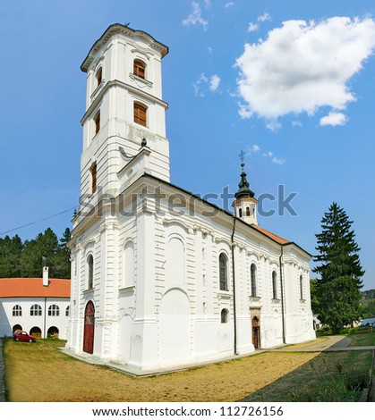 Ravanica Monastery of Vrdnik (1566) in Fruska Gora mountain in the northern Serbia, in the province of Vojvodina, Serbia - stock photo