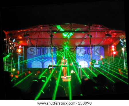 Rave Party. DJ and lights - stock photo