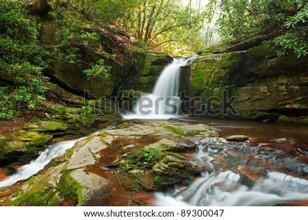 Raven Cliff Trail, first waterfall on Dodd creek - stock photo