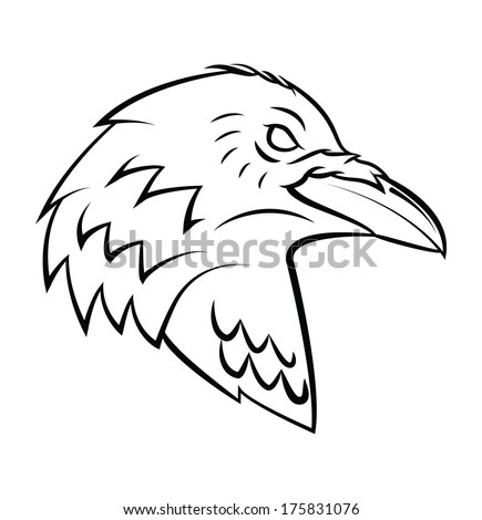 Raven Head Tattoo - stock photo