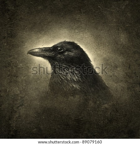 Raven, ink on paper & processing. - stock photo