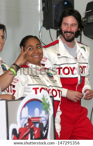 Raven-Symone & Keanu Reeves  at  the 33rd Annual Toyota Pro/Celeb Race Press Day at the Grand Prix track in Long Beach, CA on April 7, 2009