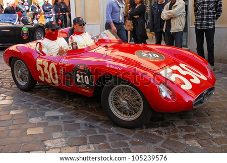 "RAVENNA, ITALY - MAY 18:  A ERMINI 357 Sport (1955) at the ""Mille miglia"" historical race for classic cars on May 18, 2012 in Ravenna, Italy."