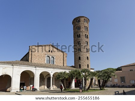 RAVENNA, ITALY -?? SEPTEMBER 6, 2014: Basilica of Saint Apollinare Nuovo is a church in Ravenna, Italy, built in the 6th century and housing beautiful byzantine mosaics from the 5th and 6th centuries. - stock photo