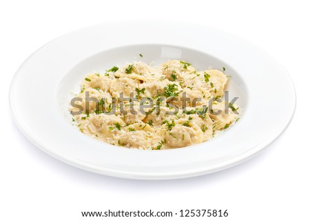 Ravioli with grated Parmesan cheese - stock photo