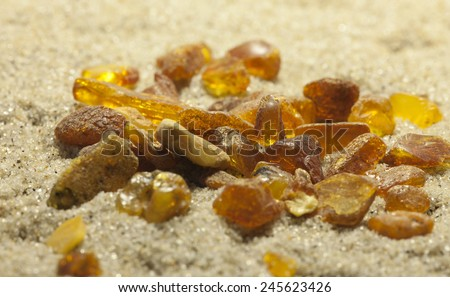 Raw amber from the shores of the Baltic Sea in the Kaliningrad region , lying on the sand
