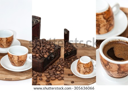 Raw and cooked coffee collage. - stock photo