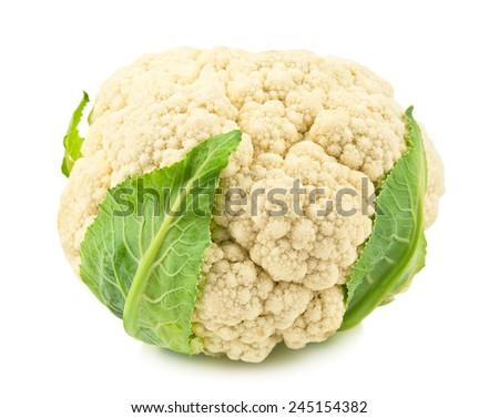 raw and ripe cauliflower on white background - stock photo