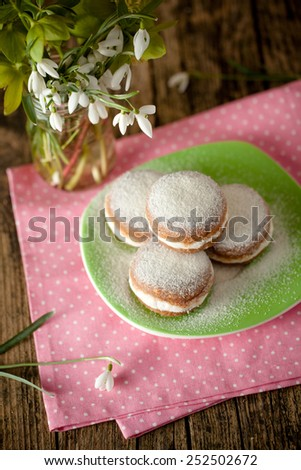 raw and vegan version of traditional berliner dessert - stock photo
