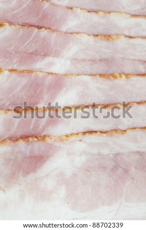 Raw bacon food background - stock photo