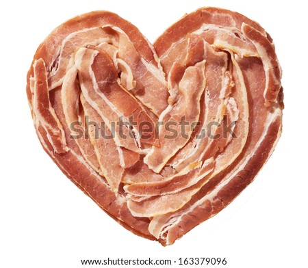 raw bacon heart isolated on a white background - stock photo
