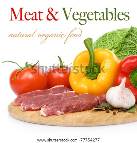 Raw beef and Ingredients. Isolated on white background - stock photo
