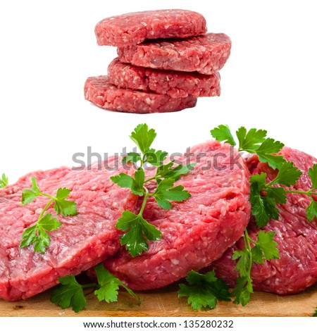 raw beef collage on wooden table - stock photo