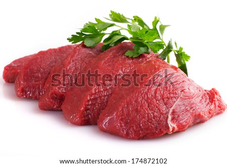 raw beef isolated on white background - stock photo