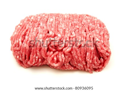 Raw beef mince on a white background - stock photo