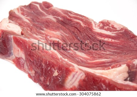 Raw beef on white background.