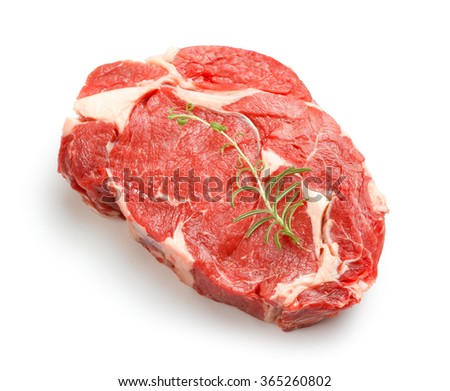 Raw beef steak isolated on white - stock photo