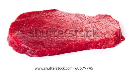 Raw beef steak isolated on white background - stock photo
