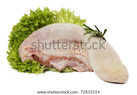 Raw beef tongue, isolated over white background - stock photo