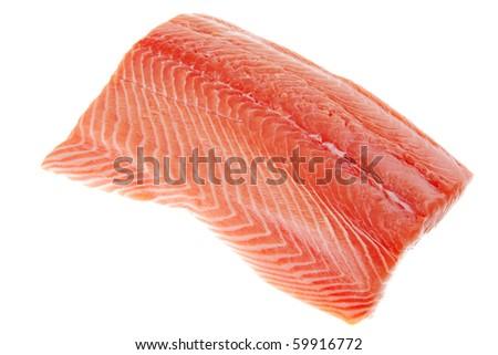 raw big salmon bar over white background - stock photo