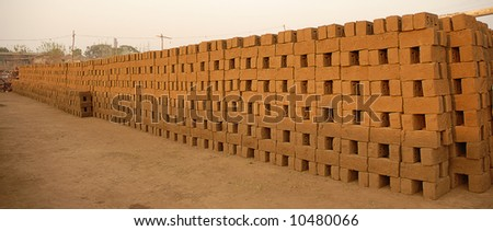 Raw Bricks Prepared for Baking