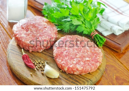 Raw burgers - stock photo