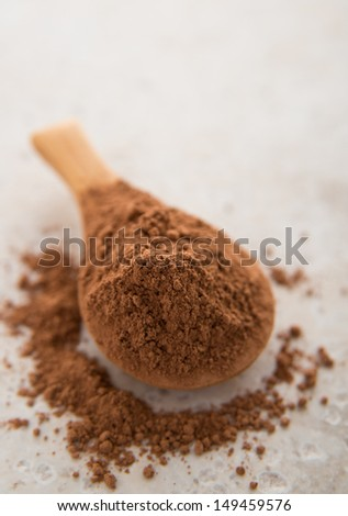 Raw Cacao Powder in Bamboo Spoon