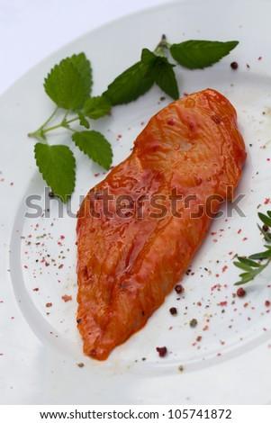 Raw chicken Breast,marinated - stock photo