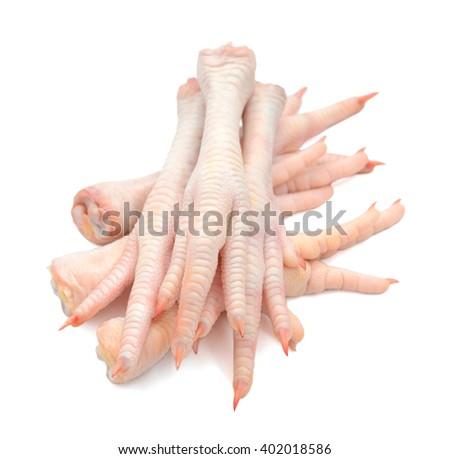 raw chicken feet isolated on white  - stock photo
