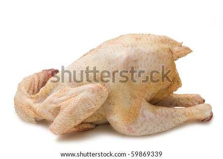 raw chicken isolated on white - stock photo