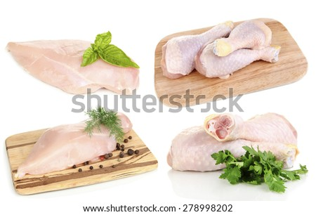 Raw chicken meat isolated on white - stock photo