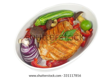 raw chicken with vegetables on white  background - stock photo
