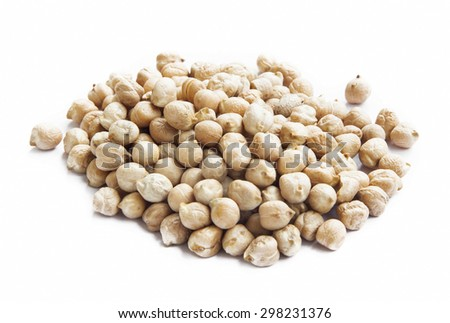 Raw Chickpeas Isolated on White, Pile of Healthy Vegetable Ingredient - stock photo
