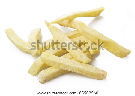 raw Chips stick close up on white - stock photo