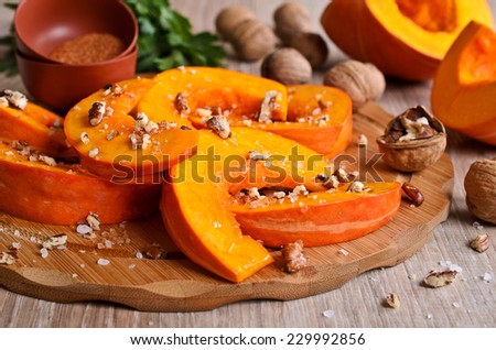 Raw chunks of pumpkin, prepared for cooking - stock photo