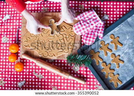Raw dough for gingerbread cookies for Christmas at home kitchen - stock photo
