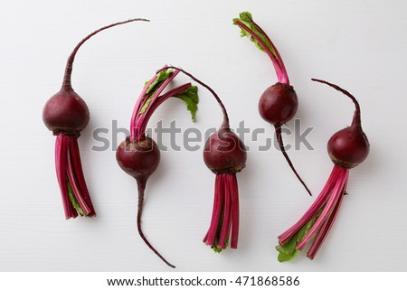 Raw fresh beetroots on white background, food above