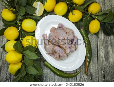 Raw fresh chicken on porcelain plate with lemon and chilli  on the wooden background. - stock photo