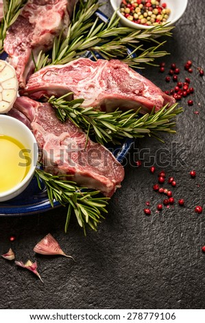 Raw fresh Lamb Meat , oil and seasonings on dark background, close up - stock photo