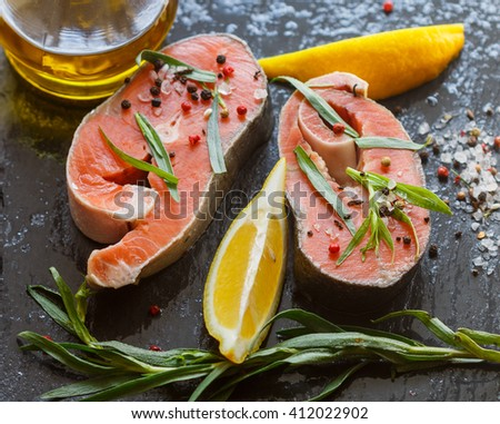 Raw fresh salmon steaks, fresh tarragon, lemon, salt and pepper. Ingredients to cook a delicious dinner - stock photo