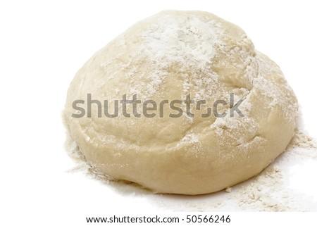 Raw freshyeast dough isolated on white - stock photo