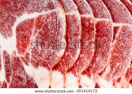 Raw frozen meat. Texture - stock photo