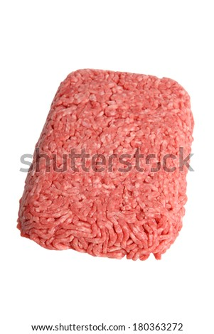 Raw ground beef, cutout on white background